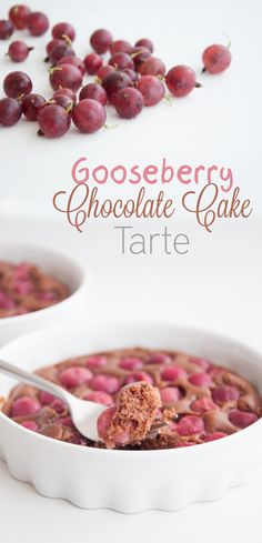 Recipe for a vegan Gooseberry Chocolate Cake Tarte. Super easy to make and delicious. It's the perfect dessert if you have an abundance of gooseberries. Healthy Vegan Desserts, Vegan Dessert Recipes, Tart Recipes, Delicious Vegan Recipes, Vegan Sweets, Dairy Free Recipes, Healthy Treats, Just Desserts, Sweet Recipes