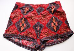 New Free People Dalia Dreams Printed High Waist Casual Woven Shorts Size 12
