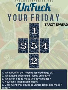 UnFuck Your Friday Tarot Spread by @arcanemysteries