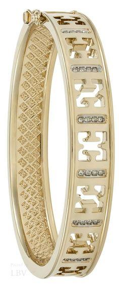 ~Escada - Swarovski Crystal & Gold Bangle Bracelet | House of Beccaria