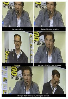 Benedict about Sherlock & Doctor Strange xD Sherlock Holmes Bbc, Sherlock Fandom, Watson Sherlock, Jim Moriarty, Sherlock Quotes, Sherlock John, Supernatural Fandom, Martin Freeman, Fandoms