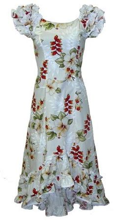 Nahenahe ruffle long muumuu dress hibiscus fern panel for Hawaiian wedding dresses with sleeves