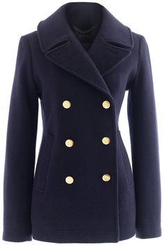 Pea coats never go out of style.  J.Crew coat, $298, jcrew.com. Courtesy J.Crew  - HarpersBAZAAR.com