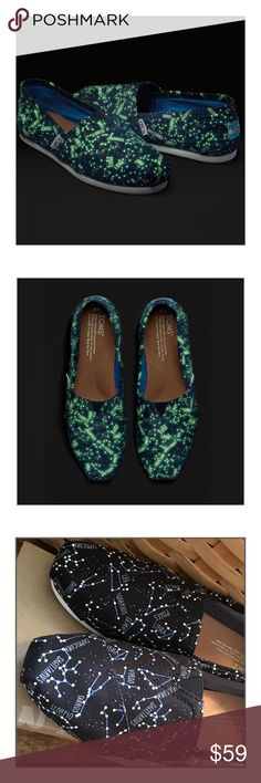 ✨TOMS Glow in the Dark Constellation Classics✨ ✨TOMS Glow in the Dark Constellation Classics✨The classic TOMS Alpargatas slip-on features a very cool zodiac constellation map that glows-in-the-dark, and boasts all the lightweight comfort that TOMS Classics are known for✨When you expose these shoes to natural or artificial light for 30 minutes, you're rewarded with 8 minutes of eye-catching and attention-getting glow-in-the-dark power✨These Are Sooooo Cool And SOLD OUT✨NWT And Original Box✨…