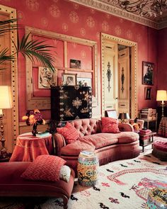 Dries Van Noten's Neoclassical Lier home evokes another era with its Victorian tufted and tasseled sofa, chinoiserie garden stools, and walls covered in custom Lyonnaise silk. - Photographed by François Halard, Vogue, March 2014