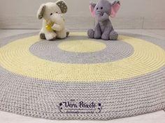 Tapete de crochê redondo - cinza e amarelo bebê - Bebês Gêmeos - 1,20