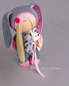 Rabbit doll Tilda doll Interior doll Textile doll grey doll