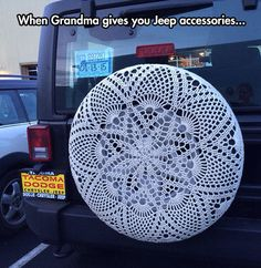 Crochet Wheel Cover... I would rock that out.