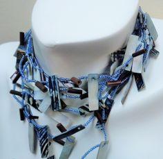 #necklace #choker #seedbeads #blue #pauashell #shellchips #multistrandchoker #fashionjewelry #beadednecklace