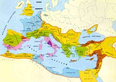 Mapa do auge do império romano - A ideia é reforçar o poder romano na Antiguidade Clássica e visualizar o processo de transformação até a queda do Império Romano do Ocidente e o início da Idade Média.