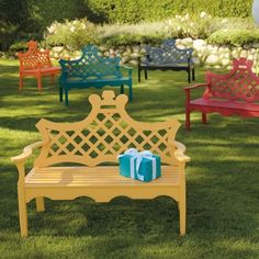 Luciana Bench®- Grandin Road So many colors, would look lovely in the back yard!
