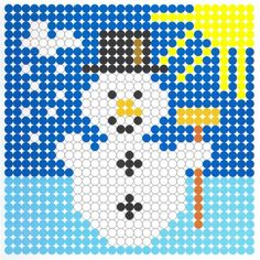 Winter snowman perler bead pattern; or give them a balck and white copy and have them punch out colored paper and use toothpick to pick up and transfer to make the design