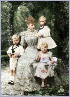 Princess Mary of Wales with Edward, Albert and Mary