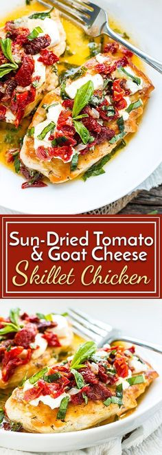Sun-Dried Tomato & Goat Cheese Chicken is a recreation of Carrabba's Chicken Bryan. Easy skillet chicken is topped with fresh goat cheese, sundried tomatoes, basil and the most delicious lemon sauce for a low-carb and gluten-free dinner recipe.