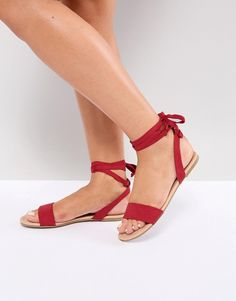 dbee3808430 Asos FIOLA Tie Leg Flat Sandals Red Prom Shoes