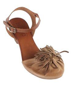 $59.99 Beige Zara Leather Wedge Sandal #zulily #zulilyfinds