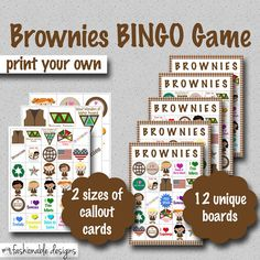 $7.00: Girl Scouts: Brownies BINGO Game - Print Your Own!