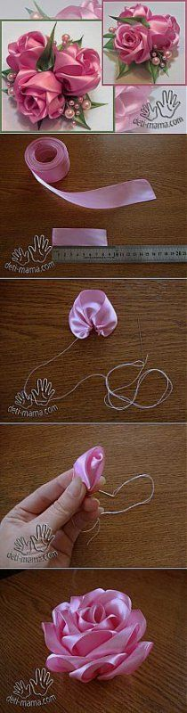 Enchanting Ribbon Embroidery Flowers by Hand Ideas - Embroidery Silk Ribbon Ribbon roses - Ribbon Art, Fabric Ribbon, Ribbon Crafts, Flower Crafts, Fabric Crafts, Sewing Crafts, Diy Crafts, Ribbon Rosettes, Fabric Tape