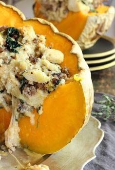This stunning savory stuffed pumpkin is bound to be the pièce de résistance at your next party, but don't fret — while it is definitely a noteworthy centerpiece, it won't give you nearly as much grief as a turkey dinner for 12 people!