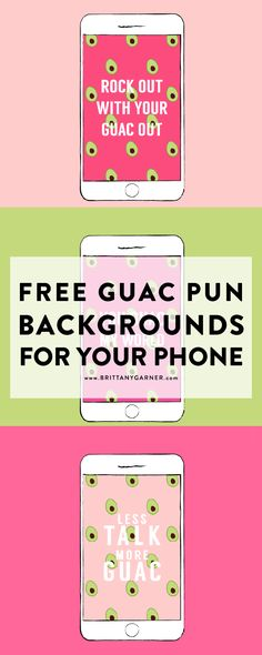 Guac Pun Background for your phone // Brittany Garner Design // BGD // iPhone backgrounds // Android backgrounds // Guac // Guacamole // Pun // Endless Summer // Summer State of Mind // Free Download