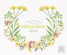 Watercolor wreath: PNG floral wreath clipart / flower wreath / Wedding invitation clip art / commercial use / Yellow & green / CM0076g