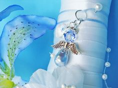 Something Blue Wedding Bouquet Charm by CrystalBlueDesigns on Etsy