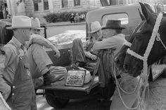 Russell Lee  Men talking. Weatherford, Texas. May 1939.