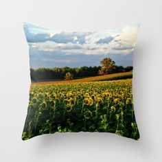 Summer sunflowers throw pillow cover, yellow, gold, green sunflower field, blue sky, living room, bedroom, home decor by RVJamesDesigns on Etsy