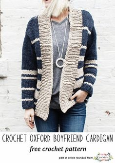 6a06ef679 Crochet Patterns Wear Knit this easy oxford striped oxford cardigan sweater  by Two of Wands from my be…