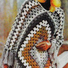 INSTANT DOWNLOAD PDF Vintage Crochet Pattern    Quick Granny Square  Poncho Retro 1970s
