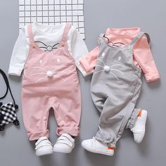 Spring Newborn Baby Girls Clothing sets Fashion Suit Long Sleeve T-shirt + pants baby suit Girls Outerwear set sportswear Baby Outfits, Kids Outfits Girls, Rock Outfits, Emo Outfits, Spring Outfits, Baby Girl Jumpsuit, Baby Dress, Dress Set, Dress Girl