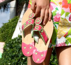770551730 Classic Palm Beach Sandals Pink And Green