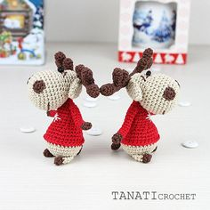 Christmas deer Pattern Amigurumi Crochet Toy PDF Pattern