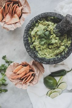 Guacamole With Homemade Corn Chips | http://themodernproper.com #super #bowl #food