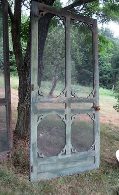Vintage Victorian Screen Door, With Copper Screening
