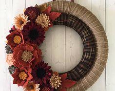 Felt flower wreath, felt fall wreath, fall wreath , wrapped wreath, ribbon wreath, double wreath, wreath
