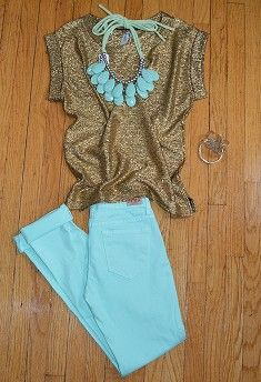 gold glitter shirt + mint blue jeans + mint blue statement necklace