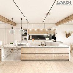 Rezydencja w Richmond - salon z kuchnią. Autor projektu (projekt, model, wizualizacje): Urszula Sawicka; konsultacja techniczna modelowania ...