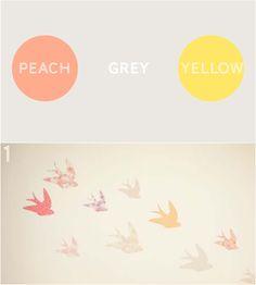Peach, grey & yellow nursery or toddler room palette