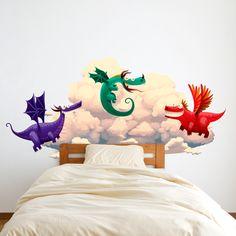 vinilo decorativo de dragones y nubes para que sueñes con un mundo de fantasía. Feminine, Touch, Design, Home Decor, Canvases, House Decorations, Fantasy World, Bed Heads, Clouds