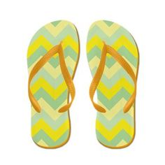 Bright yellow and green ZigZag Flip Flops #Zandiepants #flipflops