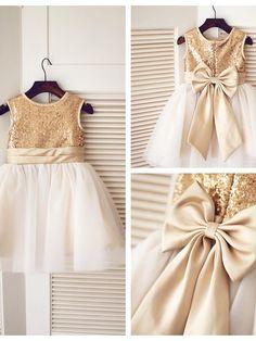 A-line Knee-length Flower Girl Dress - Tulle / Sequined Sleeveless - USD $49.99
