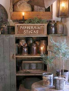 Primitive Decor...I like the peppermint sticks sign for my black wall cupboard in the living