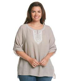 AGB® Plus Size Solid Embroidered Gauze Blouse