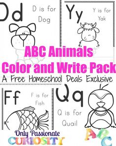 FREE ABC ANIMALS COLOR AND WRITE PACK (Instant Download)
