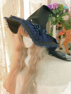 Little Devil's Emblems Witch Hat by Long Ears And Sharp EarsYou can find Witch hats and more on our website.Little Devil's Emblems Witch Hat by Long Ears And Sharp Ears Witch Dress, Witch Outfit, Witch Fashion, Lolita Fashion, Crazy Hats, Cowgirl Hats, Vintage Witch, Emblem, Fascinator Hats