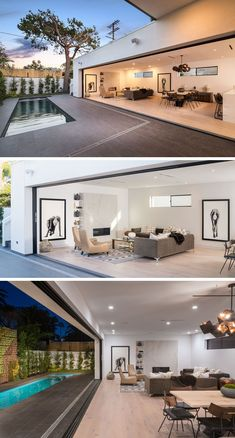 This modern house features living spaces that have all been designed to open it up to the outside by the use of sliding glass walls. At one end of the open interior is the living room that's focused on the fireplace. #ModernInteriorDesign #SlidingGlassWall