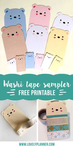 Free printable Bear washi tape sampler for your happy mails and planner - easy DIY with PDF included. More free printables on lovelyplanner.com