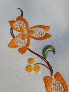French Vintage Hand Embroidered Linen Table Runner by GoshnPoche, $30.00