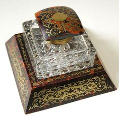 French Boulle Inkwell Crystal Glass / Malleries: Collectible